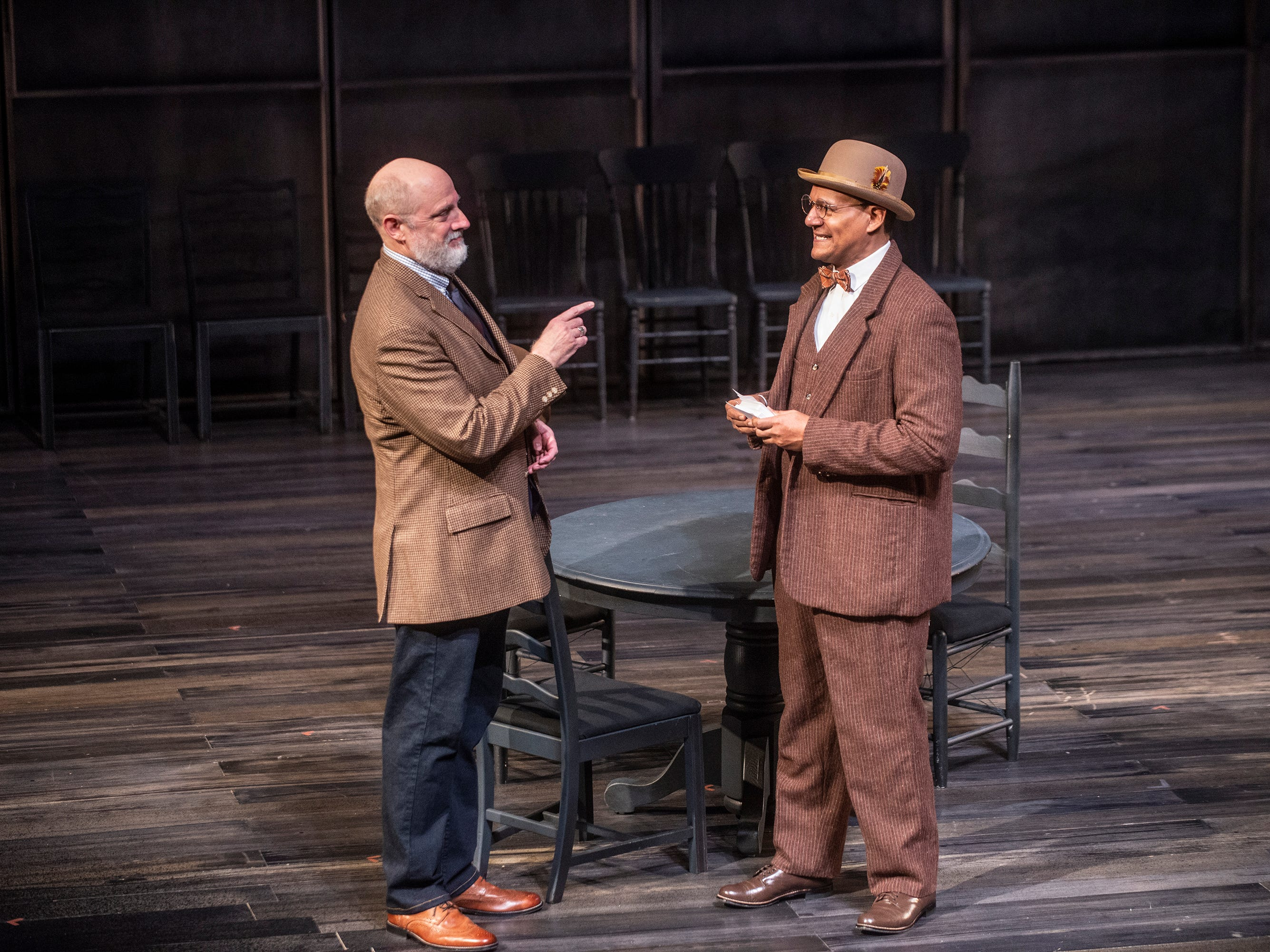 The Stage Manager (Douglas Rees), left,  and Professor Willard (Erick Pinnick) in Our Town. Our Town dress rehearsal Thursday, Feb. 21, 2019, at Alabama Shakespeare Festival in Montgomery, Ala.
