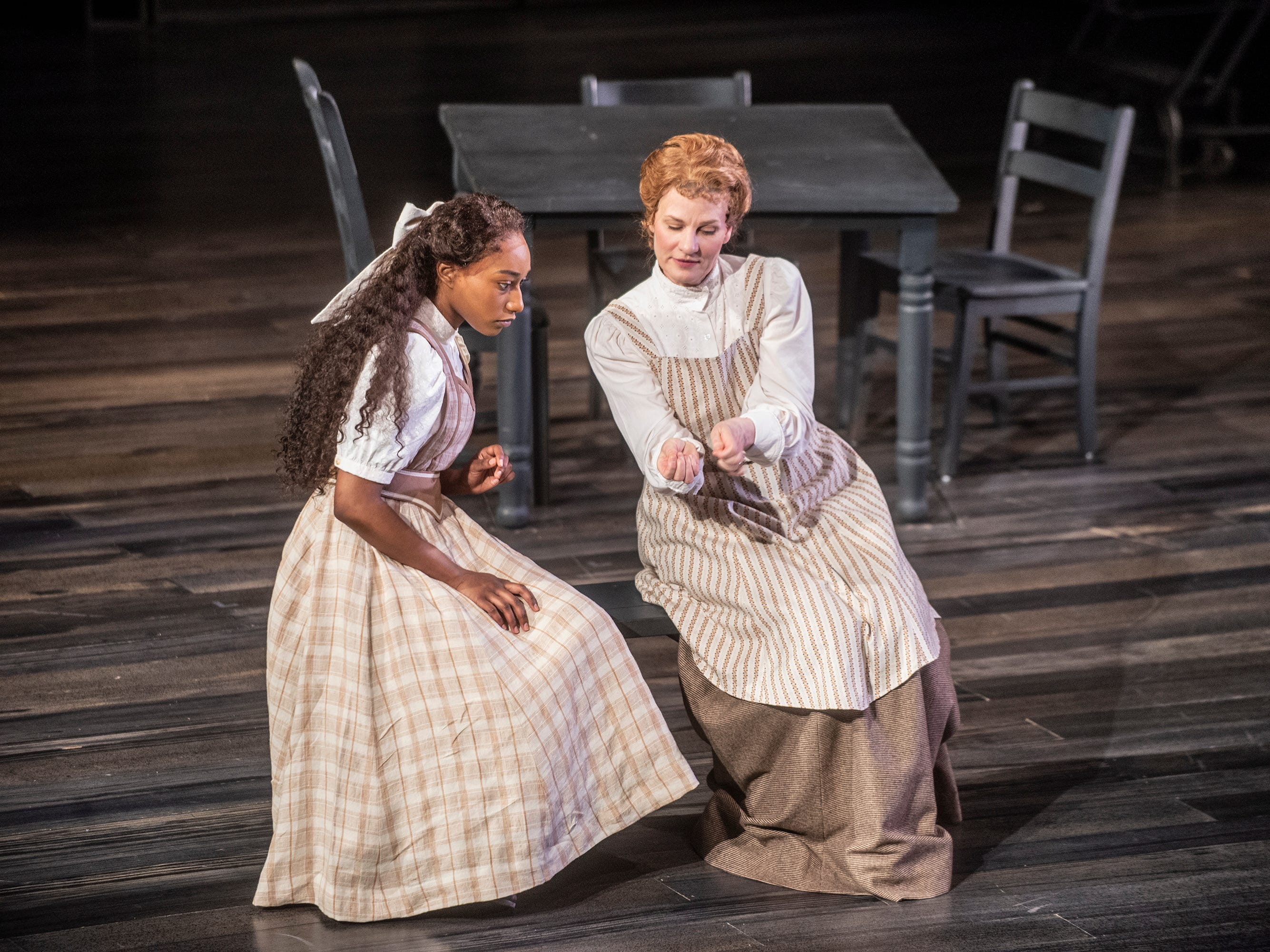 Emily Webb (Cassia Thompson) and her mother (Michelle Shupe) in Our Town. Our Town dress rehearsal Thursday, Feb. 21, 2019, at Alabama Shakespeare Festival in Montgomery, Ala.