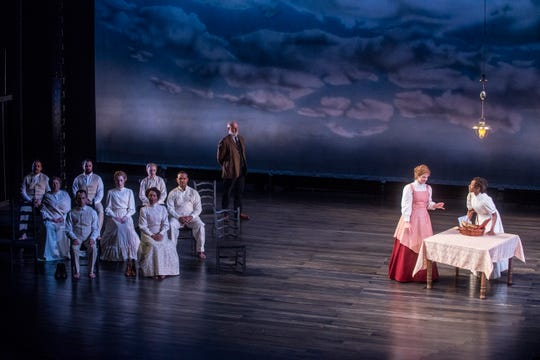 """Emily Webb (Cassia Thompson), now dead, goes back in time to see her family in """"Our Town,"""" produced in 2019  by Alabama Shakespeare Festival in Montgomery, Ala."""