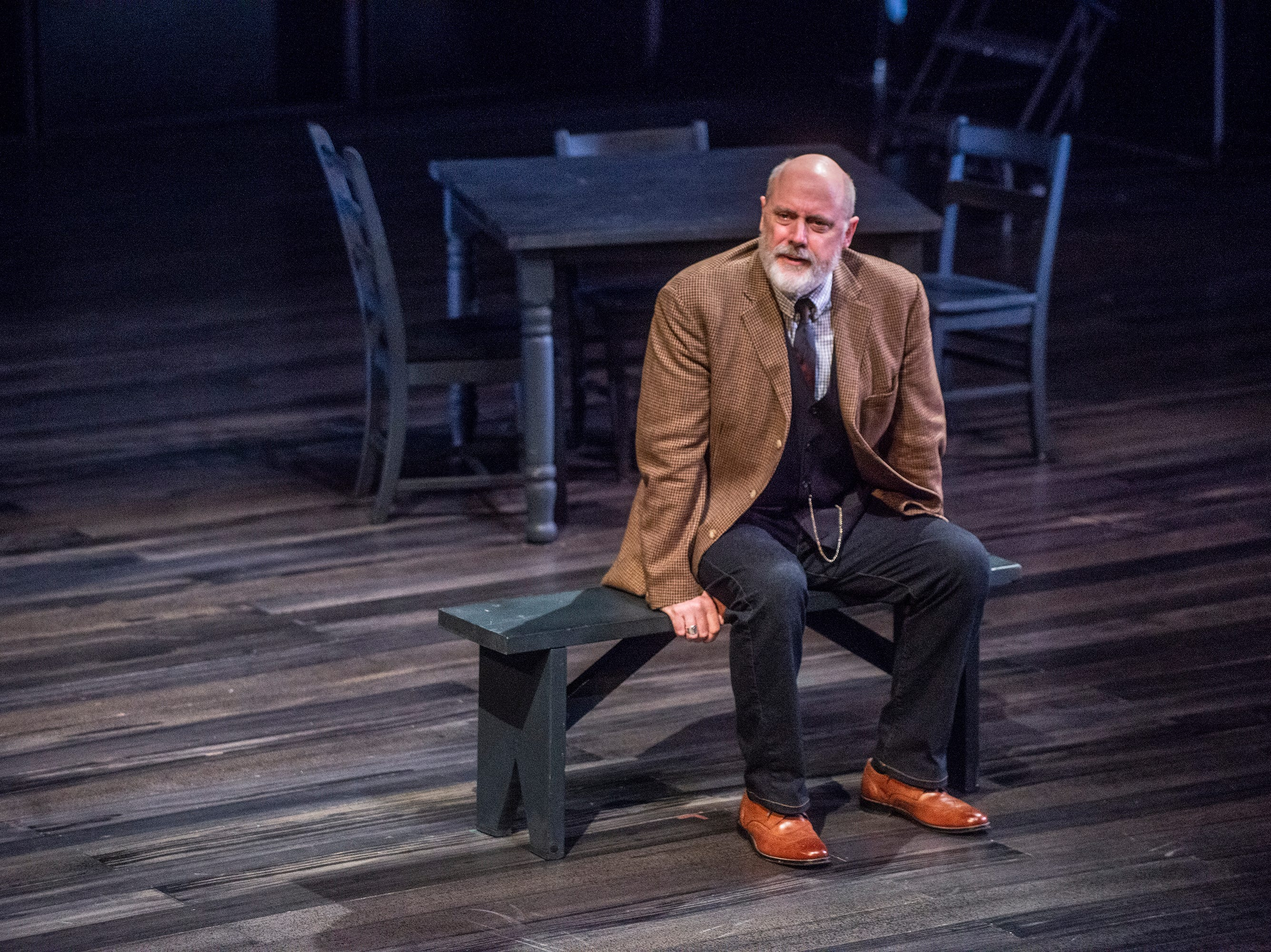 The Stage Manager (Douglas Rees) talks to the audience in Our Town. Our Town dress rehearsal Thursday, Feb. 21, 2019, at Alabama Shakespeare Festival in Montgomery, Ala.