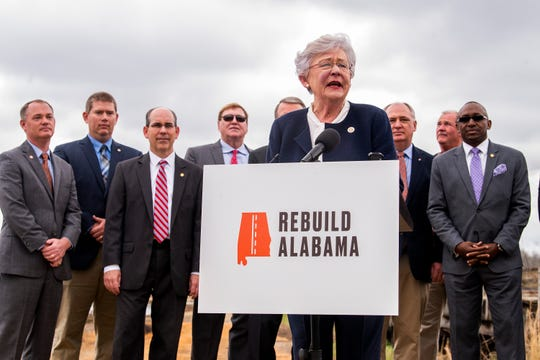 Governor Kay Ivey unveils her infrastructure proposal and  gas tax plan during a news conference near an old bridge  in Maplesville, Ala. on Wednesday February 27, 2019.
