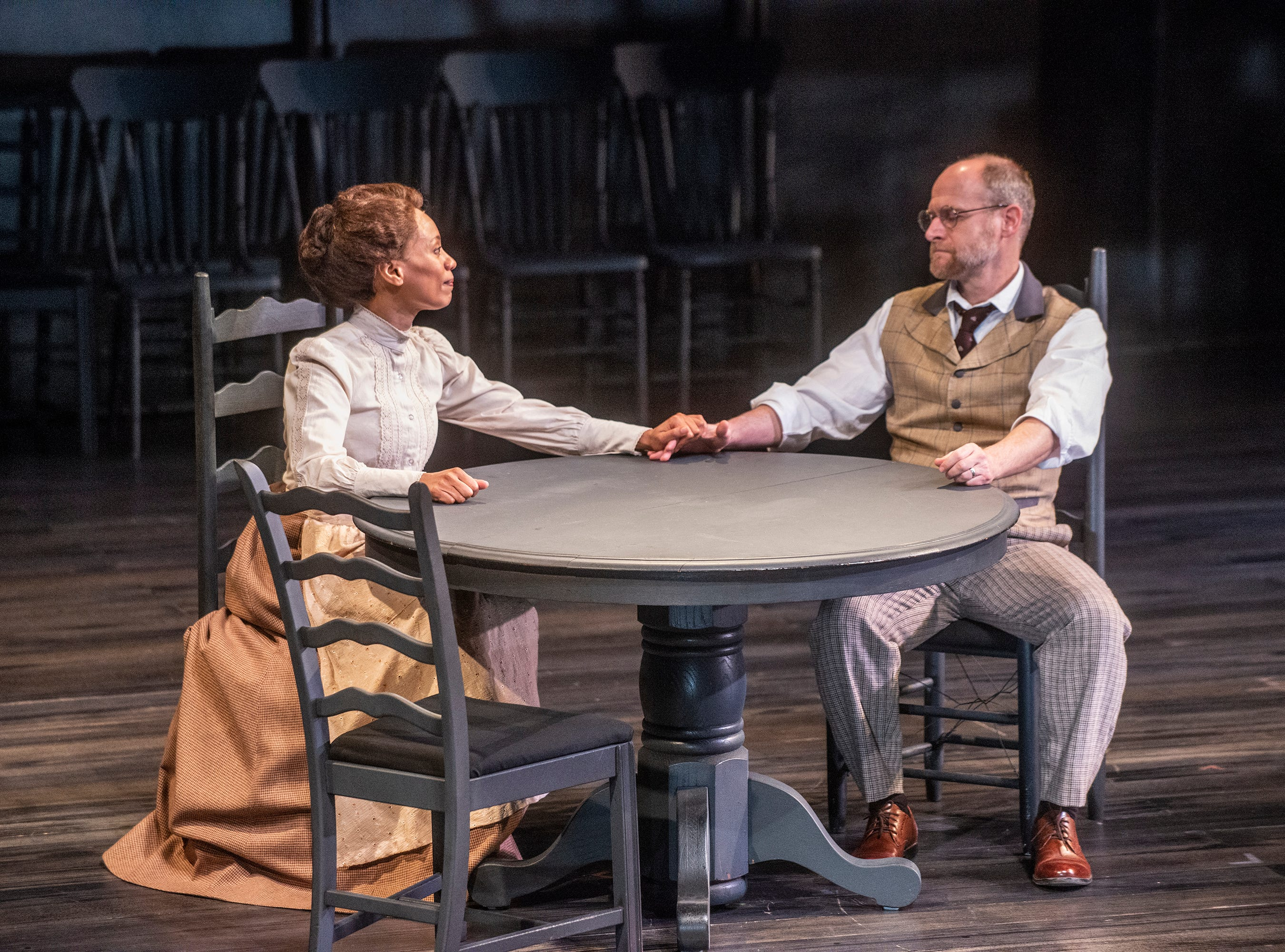 Christopher Gerson and Nehassaiu deGannes as Mr. and Mrs. Gibbs in Our Town. Our Town dress rehearsal Thursday, Feb. 21, 2019, at Alabama Shakespeare Festival in Montgomery, Ala.