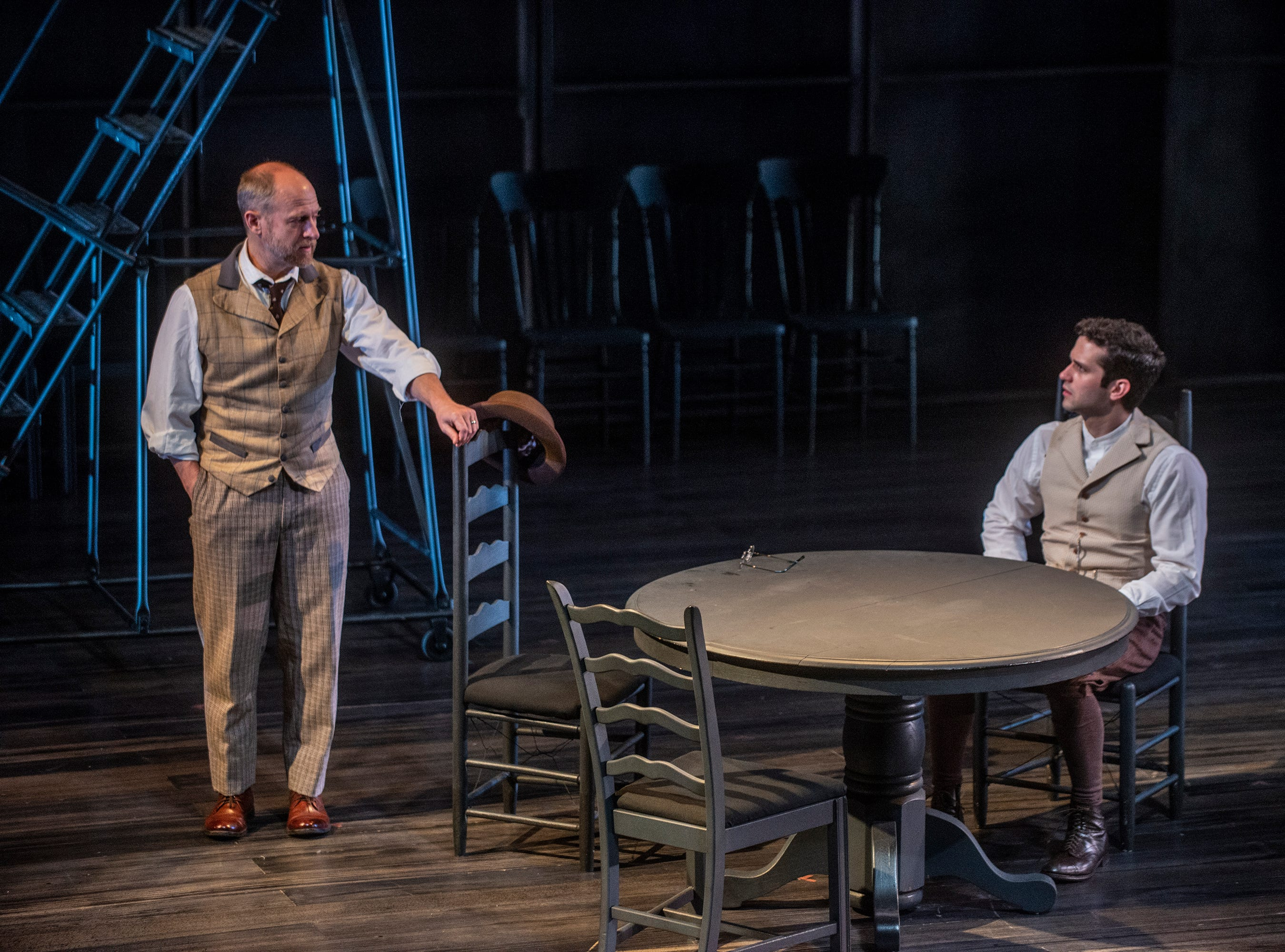 Dr. Gibbs (Christopher Gerson) talks with his son George Gibbs (Michael Williams) in Our Town. Our Town dress rehearsal Thursday, Feb. 21, 2019, at Alabama Shakespeare Festival in Montgomery, Ala.