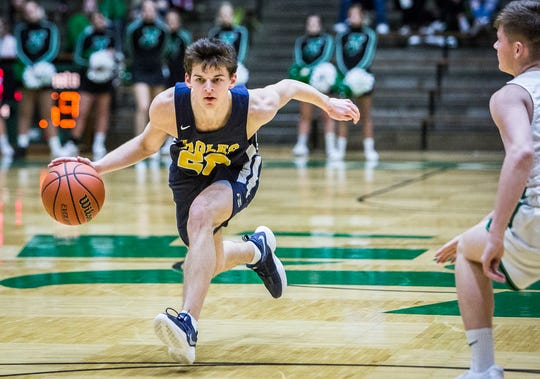 Delta's Josh Greenberg, shown here in the New Castle Sectional, scored 10 points in the Eagles' win over Tippecanoe Valley on Saturday.
