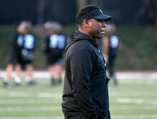 Vanderbilt coach Derek Mason watches his team run drills during the team's first spring practice on Wednesday, Feb. 27, 2019.
