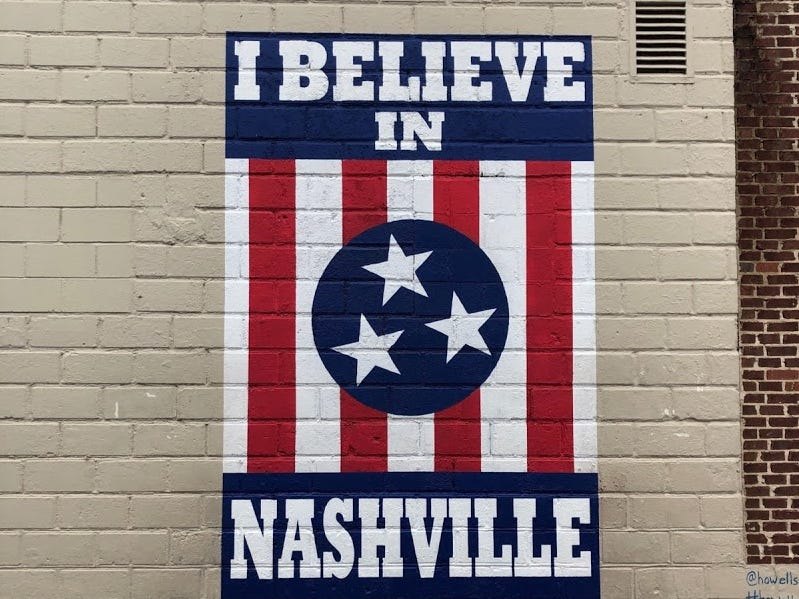 An 'I Believe In Nashville' mural on 12 South Barber shop