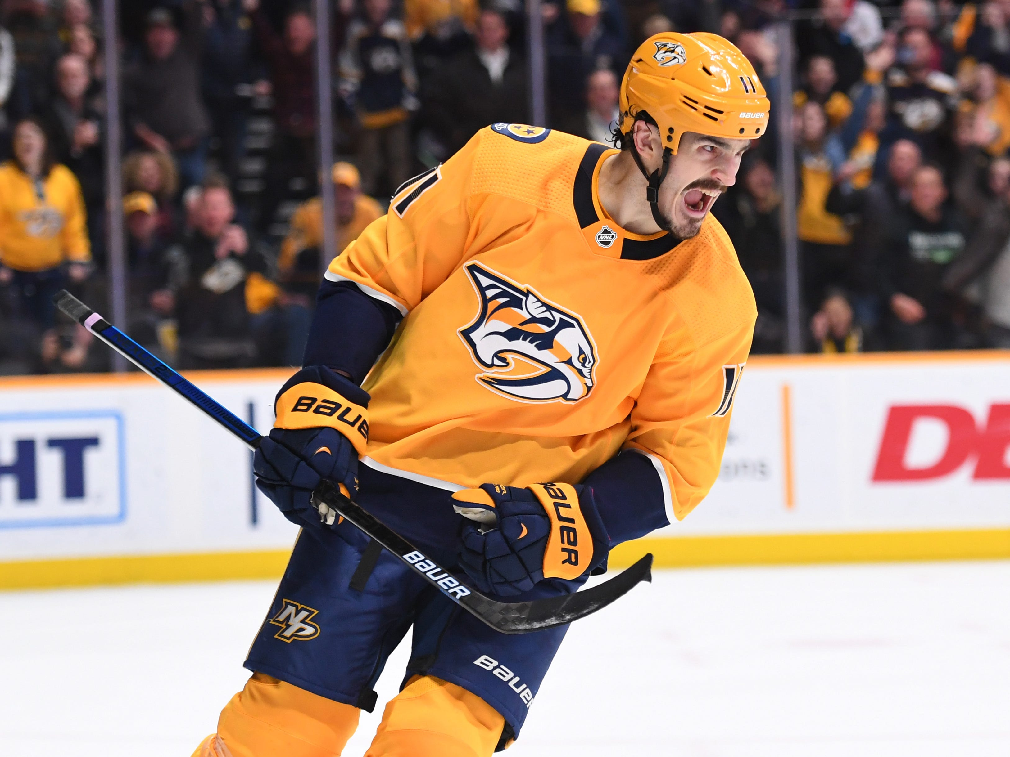 Feb. 25, 2019: Predators 3, Oilers 3 (OT) -- Nashville Predators center Brian Boyle (11) celebrates after scoring the game winning goal in the shootout against the Edmonton Oilers at Bridgestone Arena.