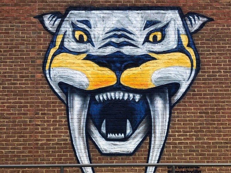 A Gnash mural on the side of White Bison and Twice Daily