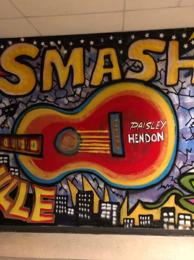 The Smashville mural inside Bridgestone Arena