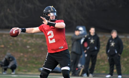 Vanderbilt quarterback Deuce Wallace throws the ball during the teams first spring practice on Wednesday, Feb. 27, 2019.