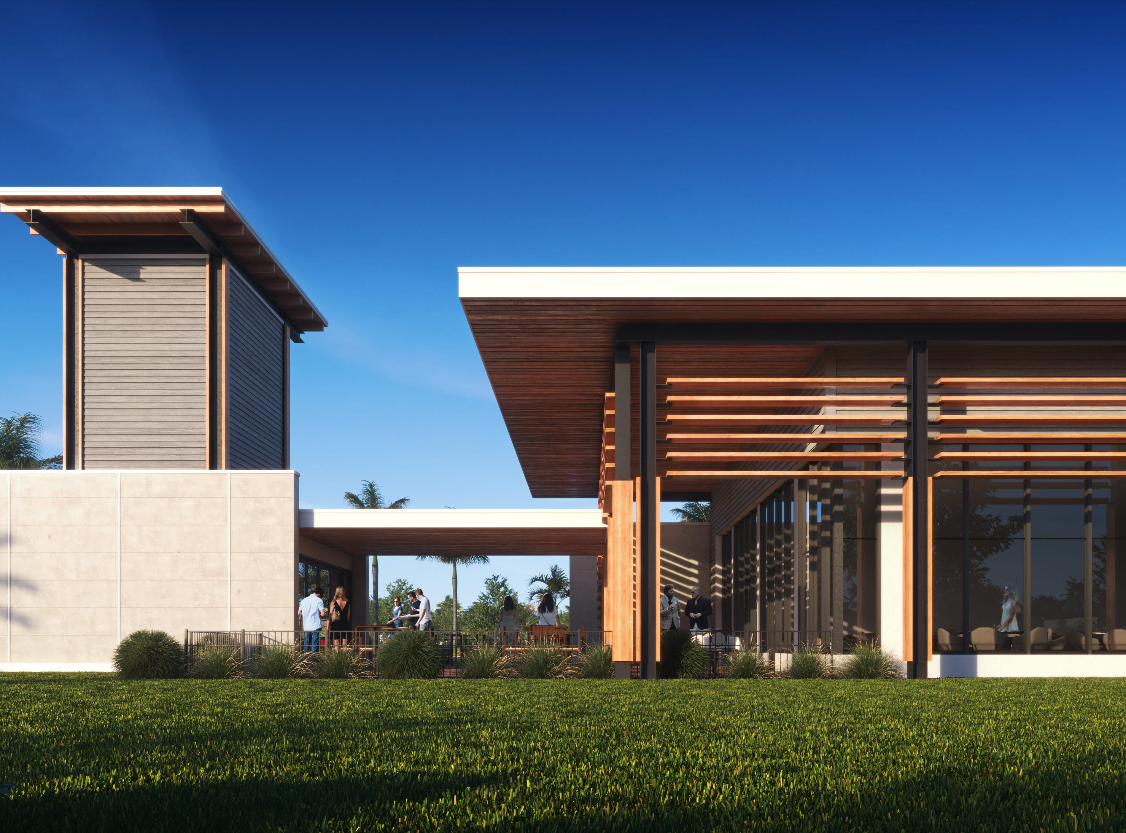 Conceptual view of a restaurant in the submitted building from Naples-Fort Myers Greyhound Track.