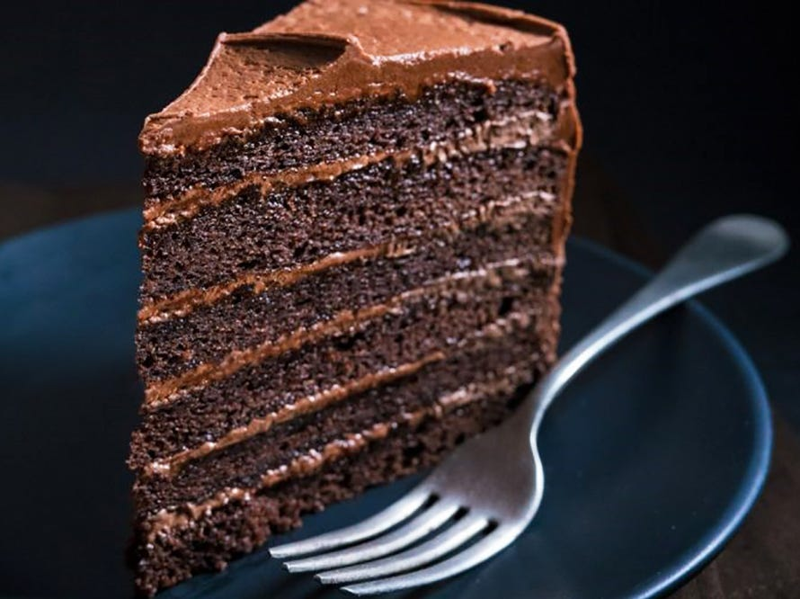 A slice of chocolate layer cake at Newk's Eatery.