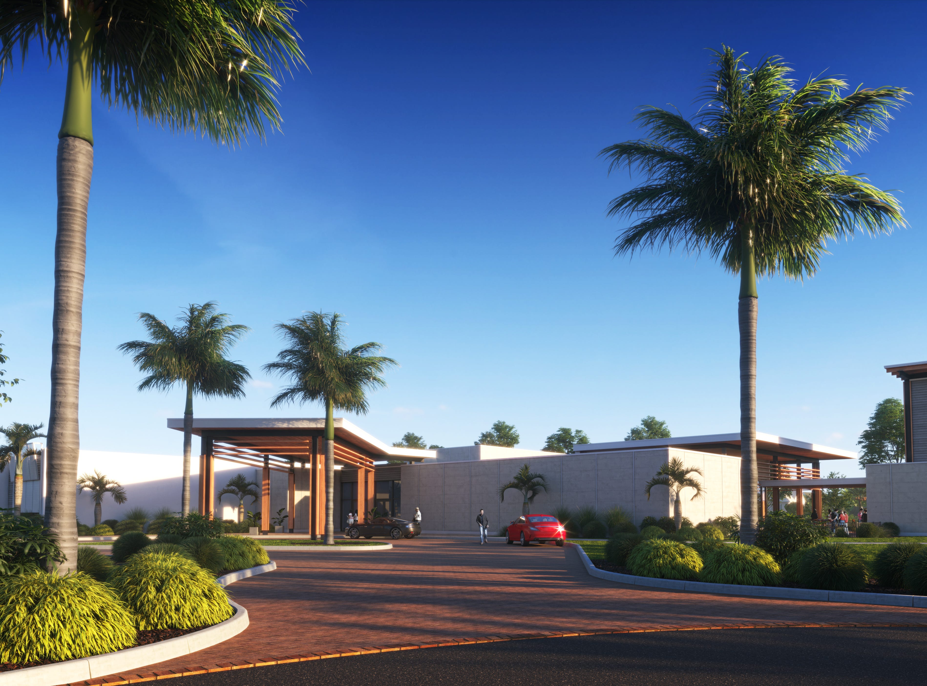 Conceptual view from the main road entrance of the submitted restaurant and poker room from Naples-Fort Myers Greyhound Track.