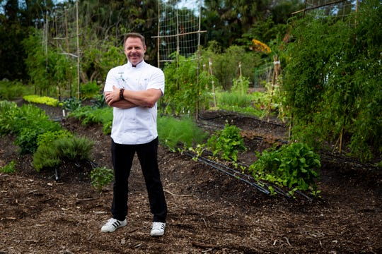 "Executive Chef Allen Fisher poses for a portrait in the Shangri-La Springs organic garden in Bonita Springs on Wednesday, February 27, 2019. Fisher grew up on a farm in Marshall, North Carolina, where his family grew almost everything they ate - an experience that taught him to respect the ingredients he cooks with. Fisher will appear on an upcoming episode of Food Network's ""Chopped"" that will air on March 26."