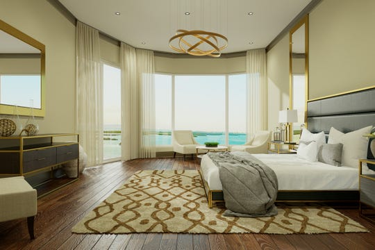 All three of the large bedrooms in Omega's 02-tower residence floor plan face the water.
