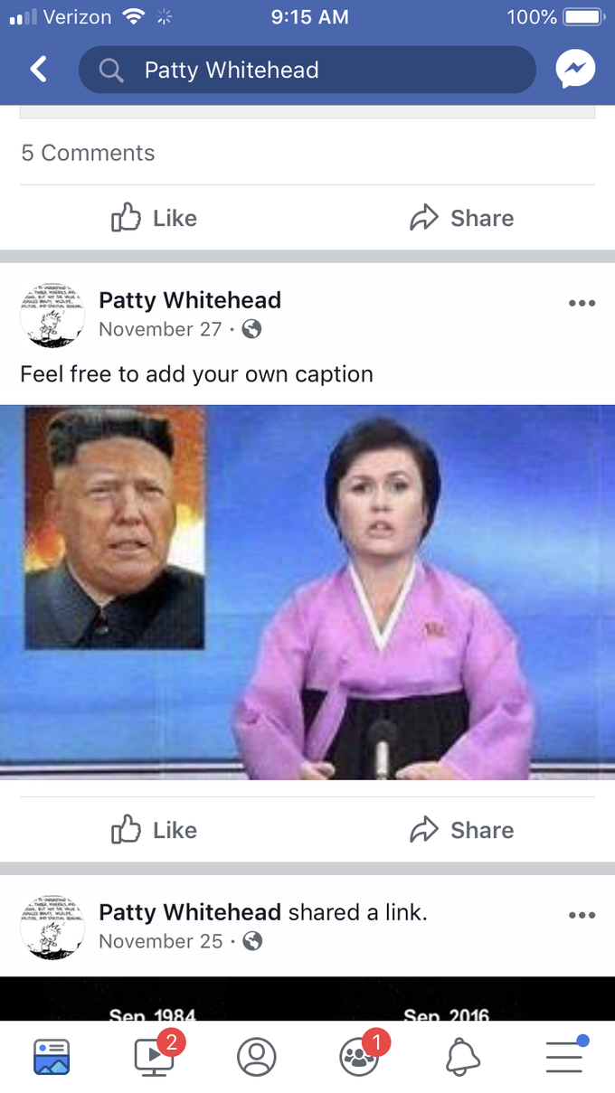 Screenshots taken Saturday, Jan. 26, 2019 from the Facebook account of Patty Whitehead. Whitehead, 58, is a member of the Estero Design Review Board and is running for Village Council.