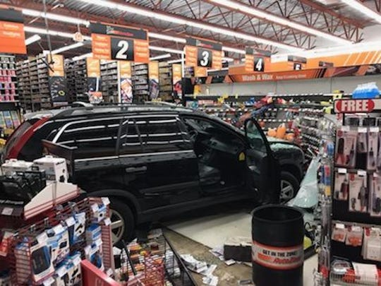 A black SUV went through the front glass of an AutoZone in Hackensack Feb. 26, 2019.