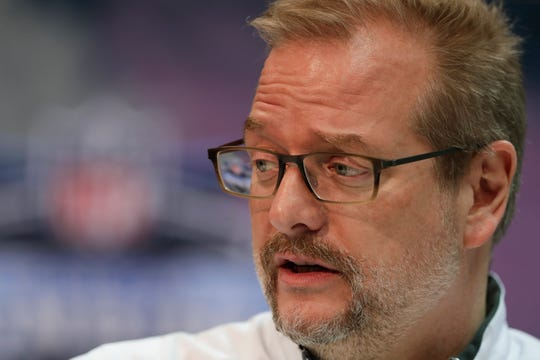New York Jets general manager Mike Maccagnan speaks during a press conference at the NFL football scouting combine in Indianapolis, Wednesday, Feb. 27, 2019. (AP Photo/Michael Conroy)