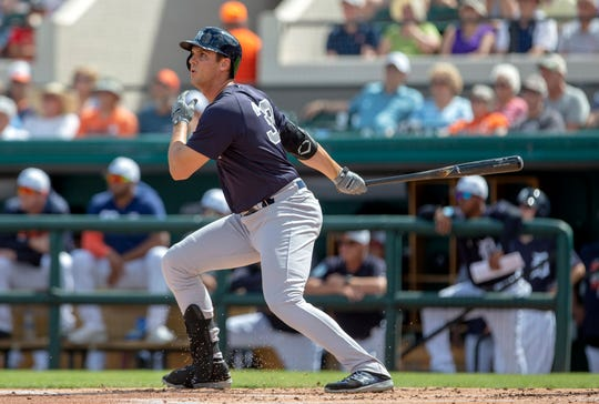 Feb 27, 2019; Lakeland, FL, USA; New York Yankees first baseman Greg Bird (33) hits a three run home run during the first inning against the Detroit Tigers at Publix Field at Joker Marchant Stadium.