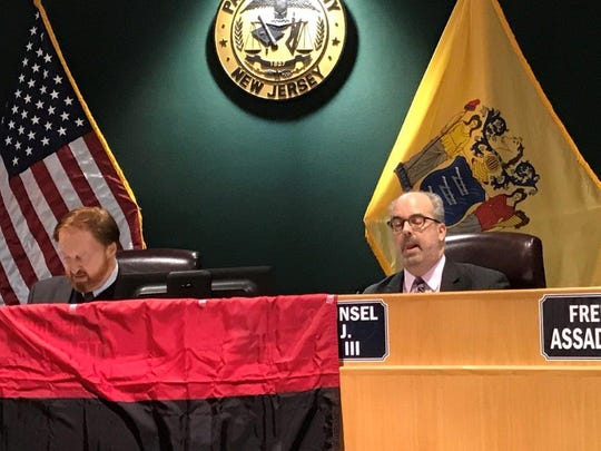 William J. Pascrell III speaking at the freeholder meeting in Paterson on Tuesday night.