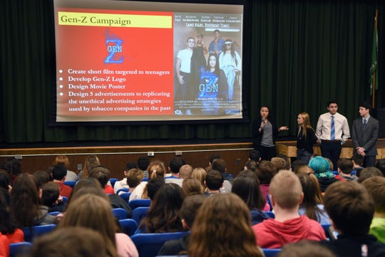Marketing students from Wayne Valley High School delivered an anti-vaping presentation to eighth-graders at George Washington Middle School on Feb. 27.