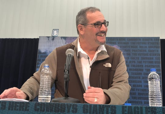 Giants general manager Dave Gettleman speaks to reporters Wednesday at the NFL Scouting Combine in Indianapolis.