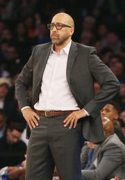 New York Knicks head coach David Fizdale looks on against the Orlando Magic during the first half at Madison Square Garden.