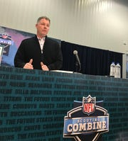 Giants coach Pat Shurmur talks to the media Wednesday at the NFL Scouting Combine in Indianapolis.