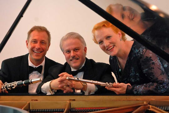 Clarinetist Donald Mokrynski, pianist Ron Levy, flutist Margaret Swinchoski of the Palisades Virtuosi