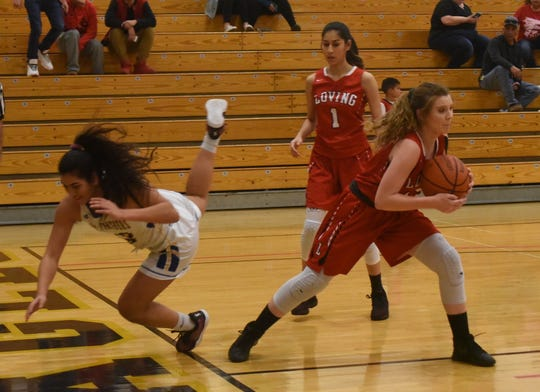 Jayden Ottman comes up with a steal during the Lady Falcons' 42-35 win over Jal in Hobbs Tuesday night.