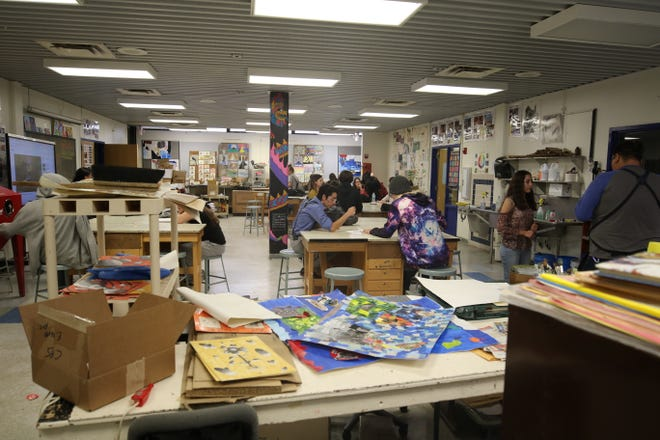 Elija Nieto's art class gets ready for the day, Feb. 27, 2019, at Carlsbad High School.