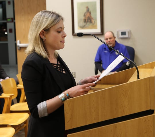 Missi Currier of XTO Energy addressed the Carlsbad City Council Feb. 26.