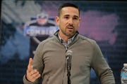 Green Bay Packers head coach Matt LaFleur speaks during a press conference at the NFL football scouting combine in Indianapolis, Wednesday, Feb. 27, 2019. (AP Photo/Michael Conroy)