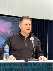 Green Bay Packers general manager Brian Gutekunst talks to the media Wednesday during the NFL combine in Indianapolis.