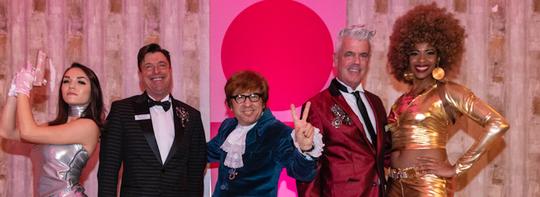 Mark Davis and Modernism Week Chairman William Kopelk with Austin Powers look-alikes.