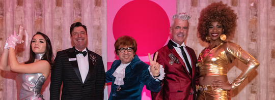 Mark Davis and Modernism Week Chairman William Kopelk with Austin Powers look-alikes.