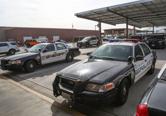 Riverside County Sheriff's vehicles that are contracted out to the city of Palm Desert are marked as Palm Desert Police at the Riverside County Sheriff's Department Palm Desert Station, February 26, 2019.
