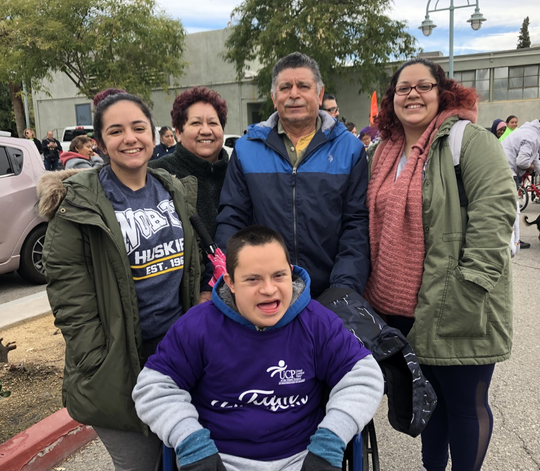Participant Mateo Chávez (in front) and his support team: Mayra Chávez, Ramona Chávez and Felix Chavez, and Alana Horvatin – all came to raise money and awareness for United Cerebral Palsy of the Inland Empire.
