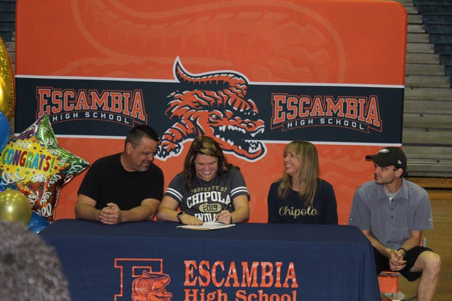 Escambia's Shelby Ullrich signs with Chipola on Feb. 6.