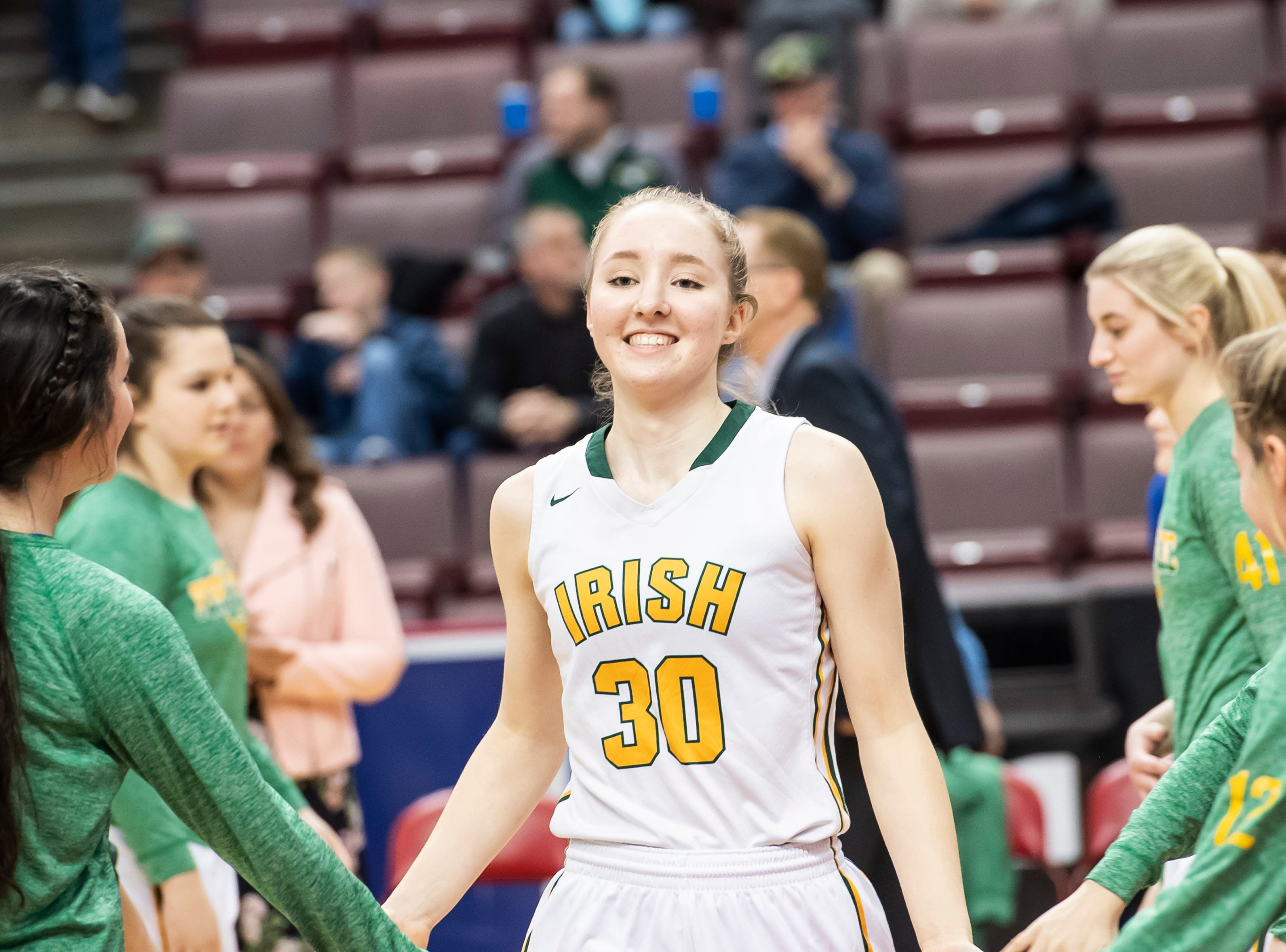 York Catholic's Katy Rader is introduced during the starting lineups in the District 3 2-A girls championship game against Linden Hall at the Giant Center in Hershey Tuesday, Feb. 26, 2019. The Fighting Irish fell 56-27.
