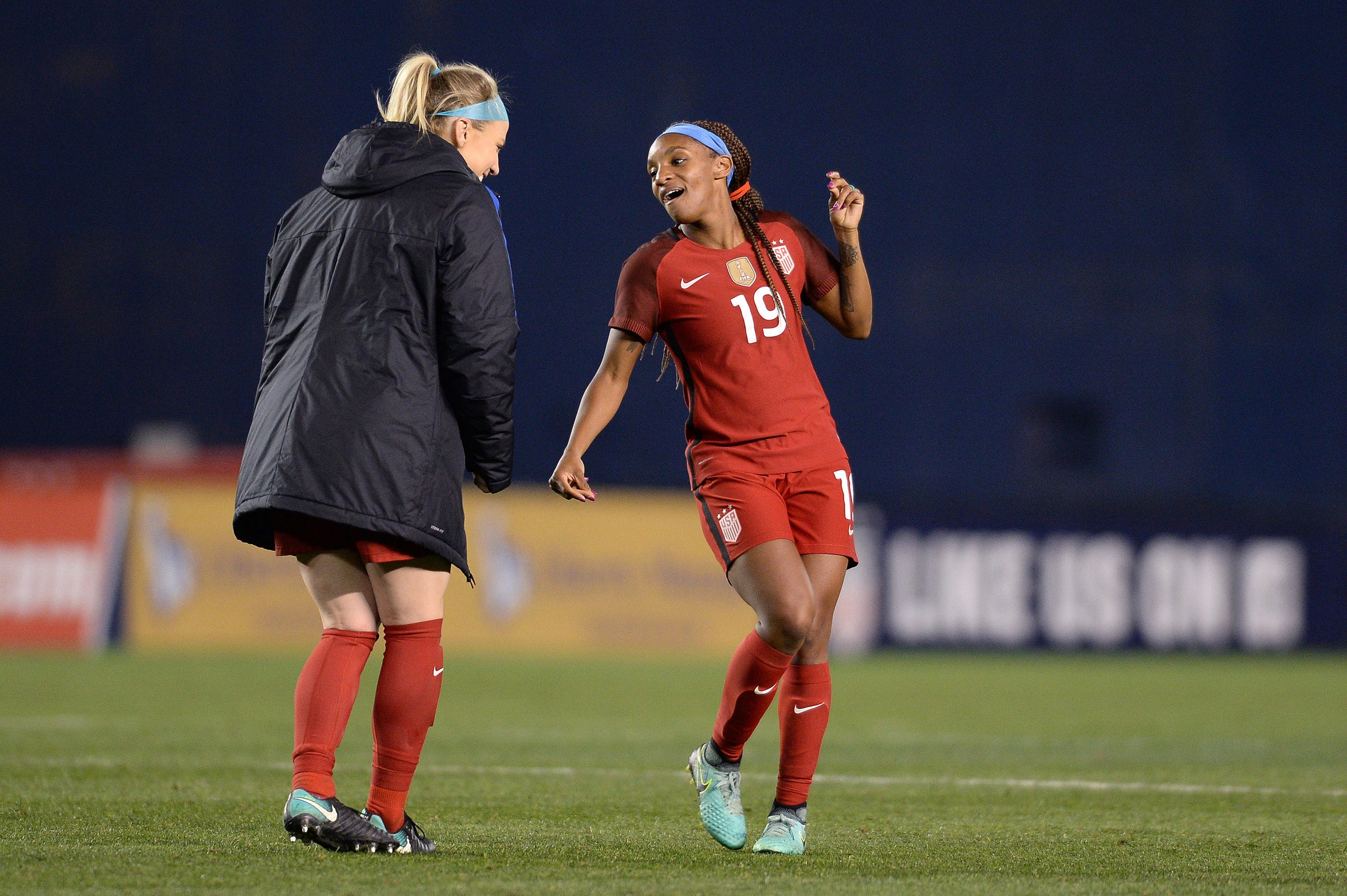 Julie Ertz (left) and Crystal Dunn are pretty much inseparable.