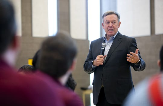 ASU President Michael Crow speaks to staff during an ASU staff forum at the ASU Polytechnic campus in Mesa on October 31, 2018.