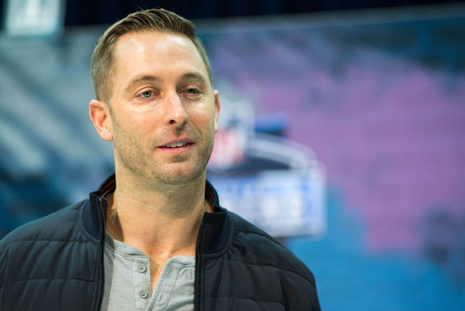 Cardinals coach Kliff Kingsbury speaks to media during the NFL Scouting Combine on Wednesday at Indianapolis Convention Center.
