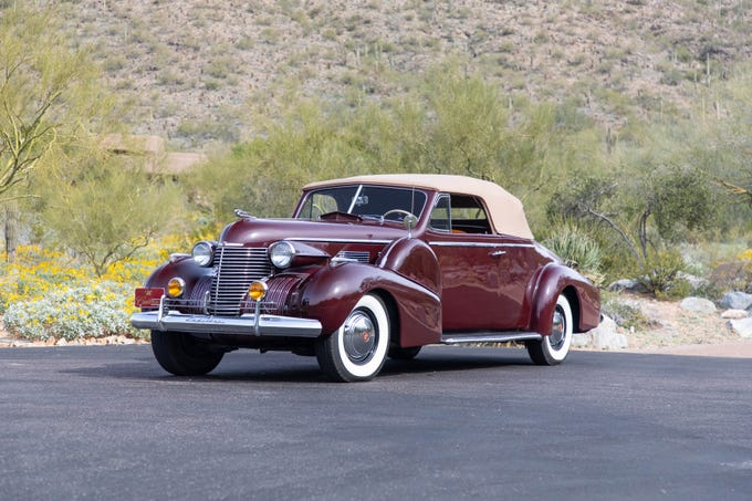 A 1940 Cadillac Series 75 Convertible Coupe will hit the auction block at State Farm Stadium in Glendale on March 14-17, 2019.