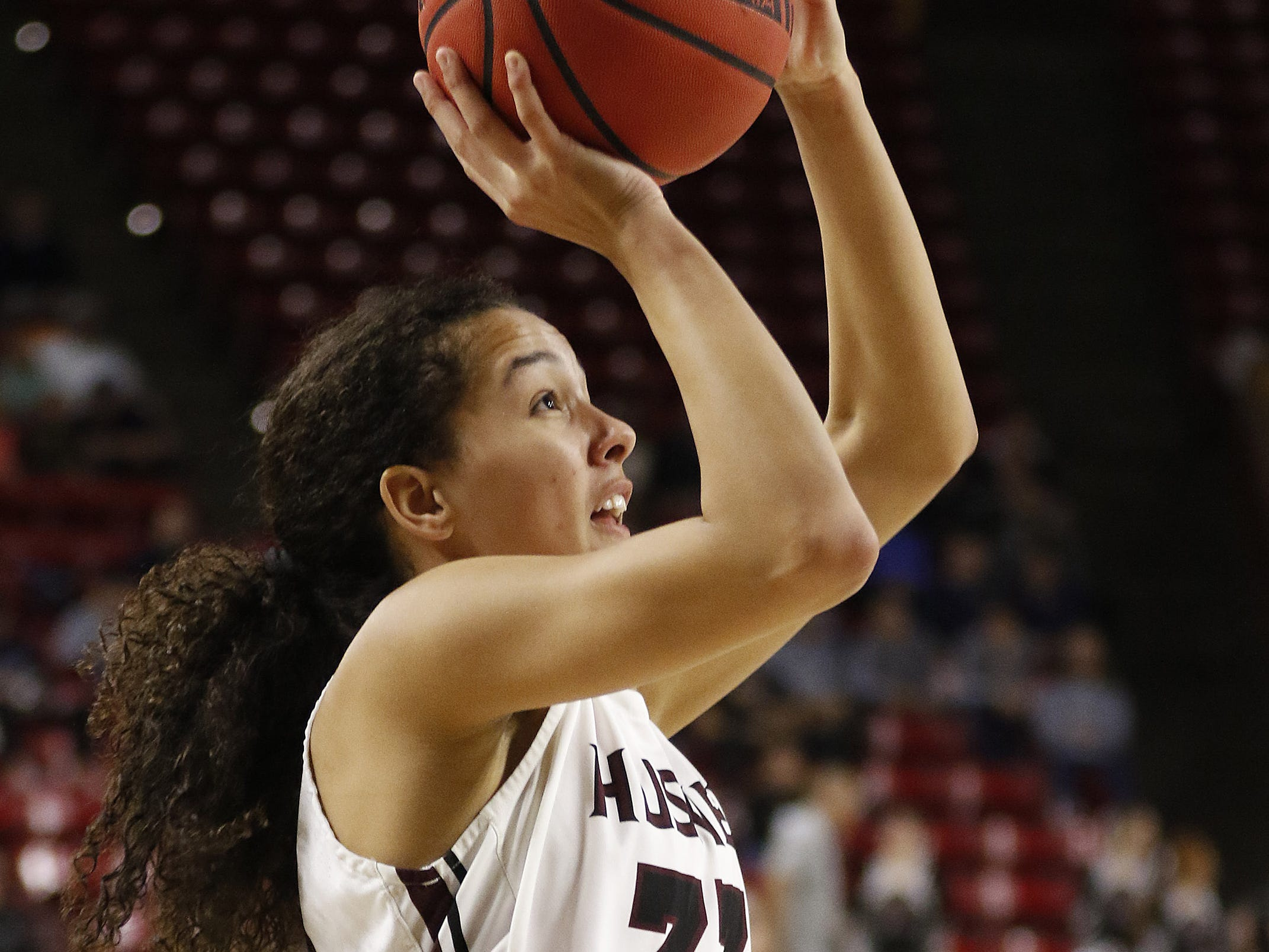 Hamilton's Samara Curry (33) takes a shot against Xaiver during the 6A Girls State Championship at Wells Fargo Arena in Tempe Tuesday, Feb 26, 2019.