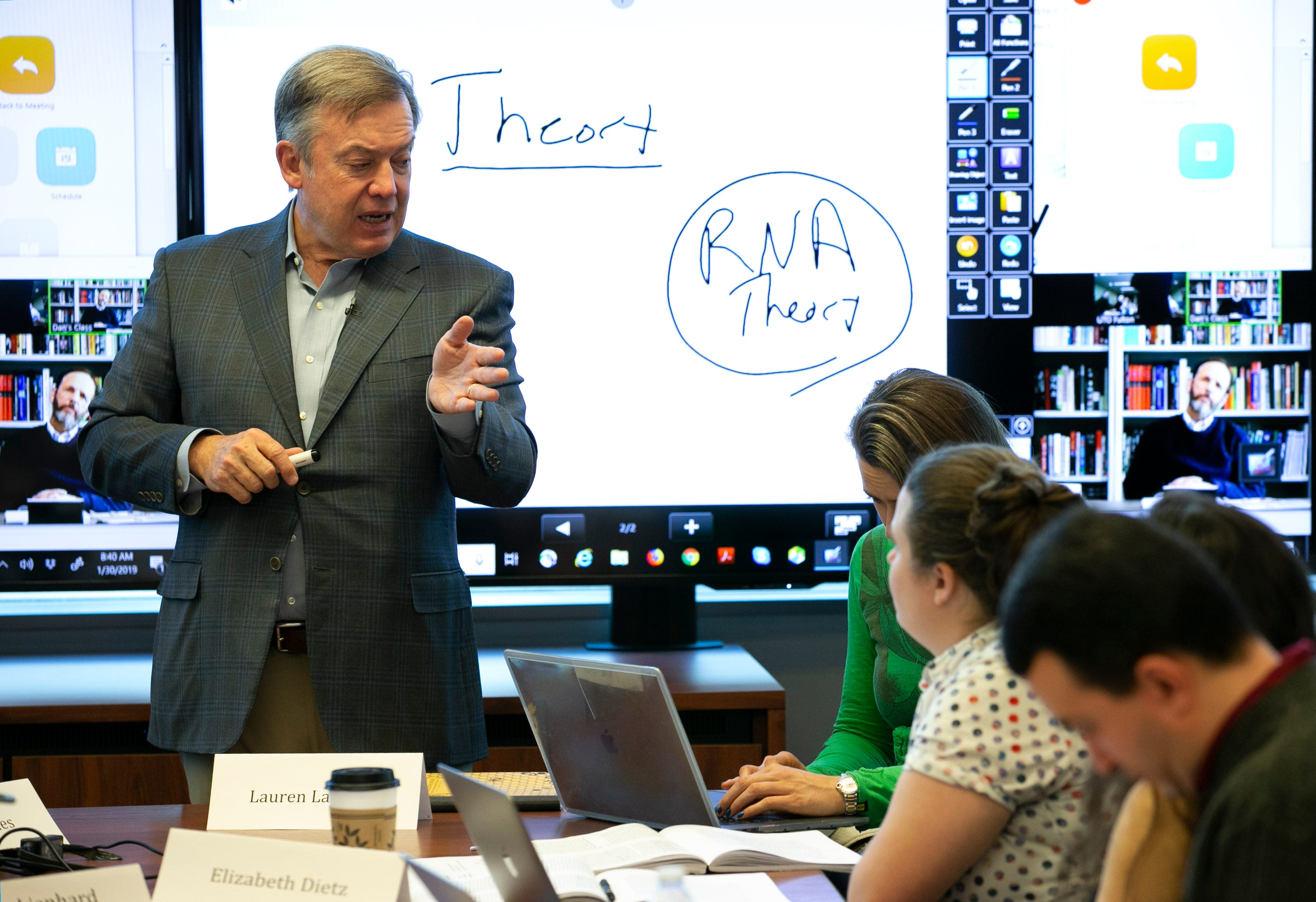 ASU President Michael Crow smiles while co-teaching the multi-disciplinary Science, Technology and Public Affairs class at the Fulton Center on Jan. 30, 2019.