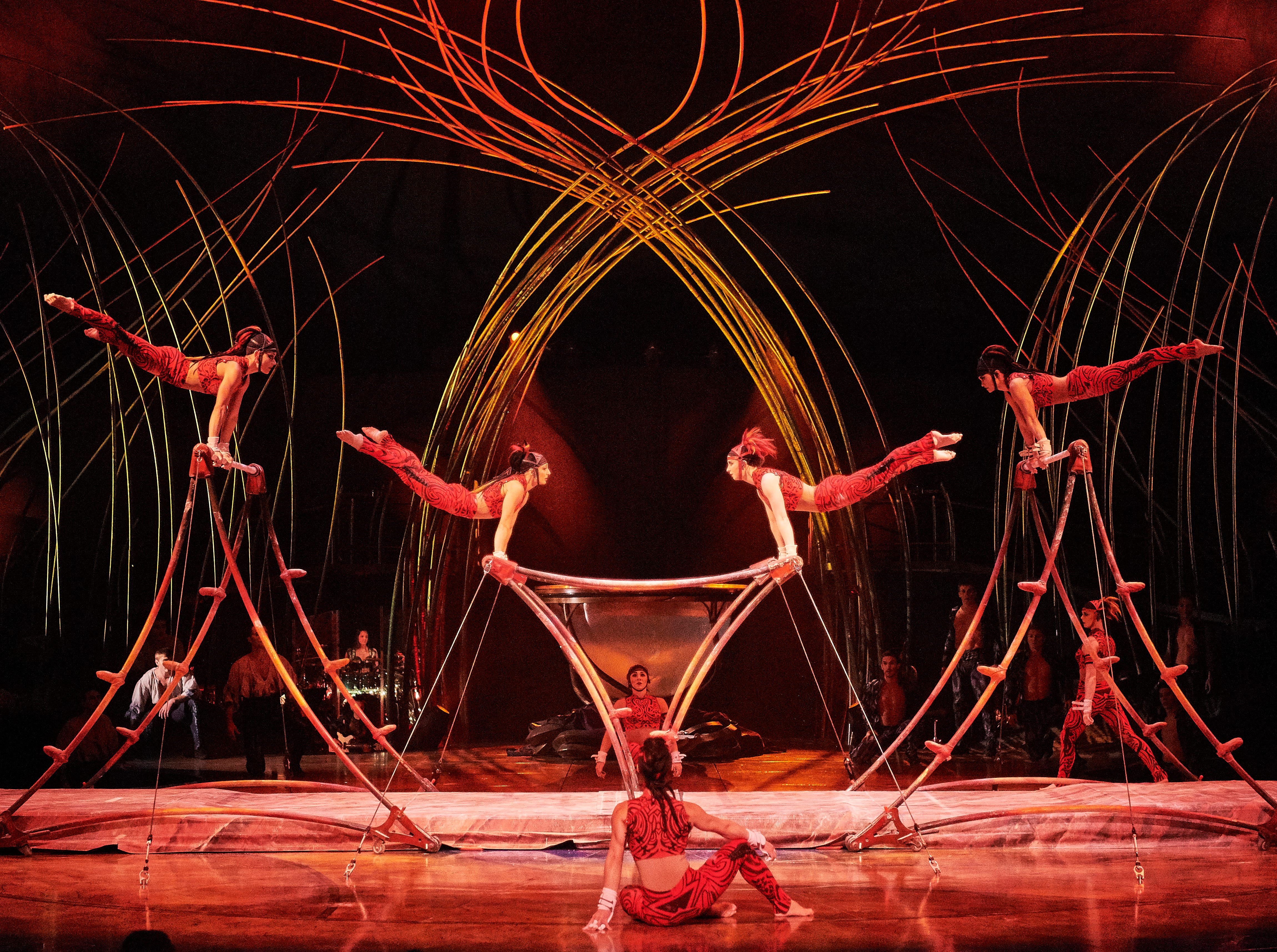 """The captured young men help the Amazons – the fierce feminine force of the island – to present a fast-paced theatrical version of the classic gymnastic routine in """"Amaluna."""""""