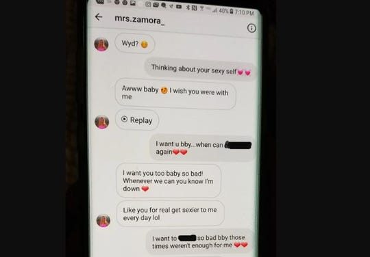 A text message between Brittany Zamora and her 13-year-old student. Zamora was arrested in March 2018 on suspicion of sexual misconduct with the student. The photo has been altered by The Republic/azcentral.com for inappropriate language.