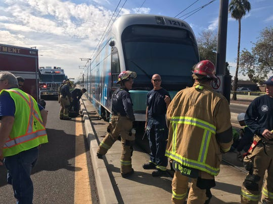 A man in his 40s was struck by a Valley Metro light-rail train Wednesday morning at 19thand Montebello avenues, according to Phoenix police and fire officials.