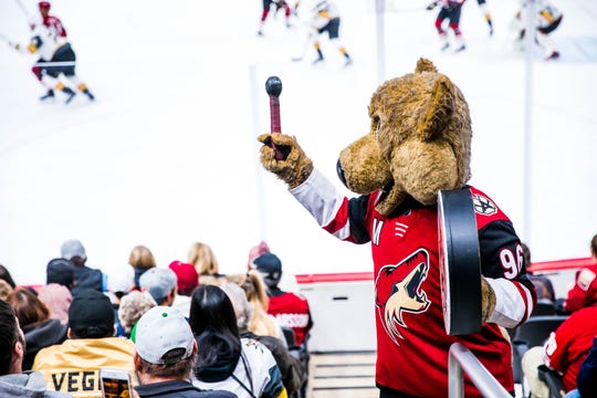 The team's mascot Howler is known to pump up the crowd at Gila River Arena.